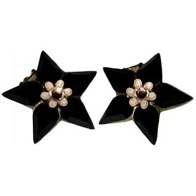 Michal Negrin Black Star Clip Earrings