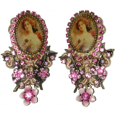 Michal Negrin Pink Woman Cameo Lace Earrings