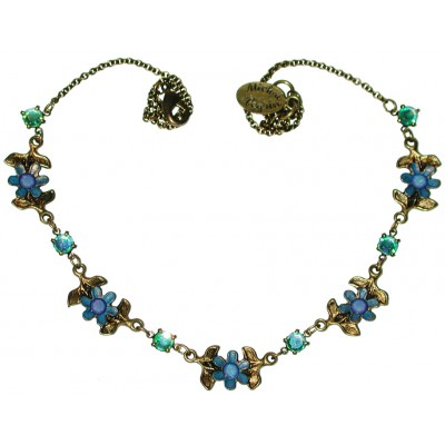 Michal Negrin Icy Blue Green Daisy Chain Necklace