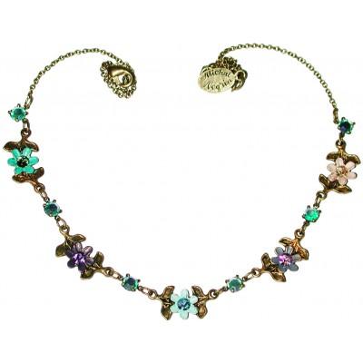 Michal Negrin Purple Aqua Green Peach Daisy Chain Necklace
