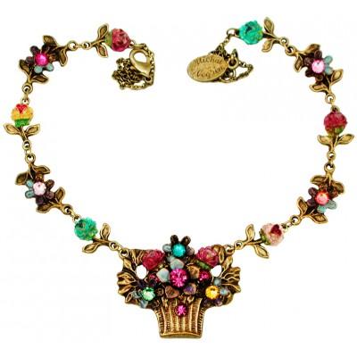Michal Negrin Multicolor Tiedye Flower Basket Necklace