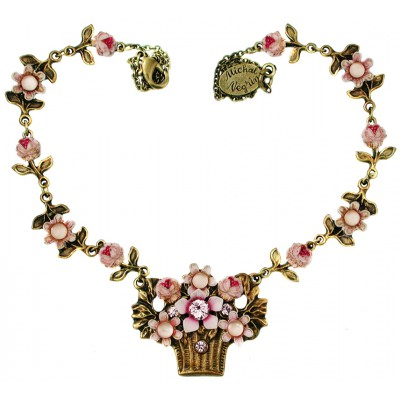 Michal Negrin Lilac Flower Basket Necklace
