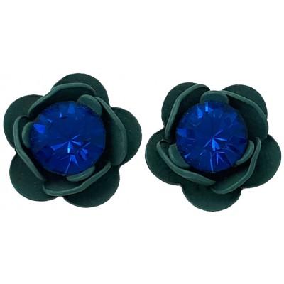 Michal Negrin Blue Teal Rose Crystal Stud Earrings