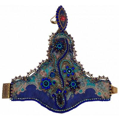 Michal Negrin Blue Printed Fabric Slave Bracelet