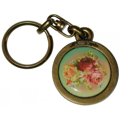 Michal Negrin Multicolor Roses Round Keychain