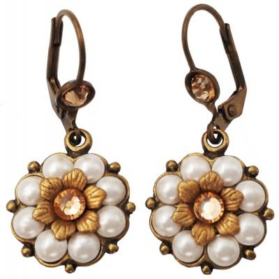 Michal Negrin Pearl Peach Crystals Flower Earrings