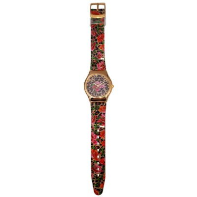 Michal Negrin Leopard Roses Wrist Watch