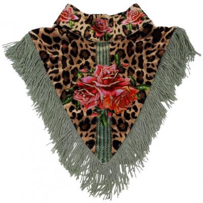 Michal Negrin Leopard Roses Velvet Collar Scarf