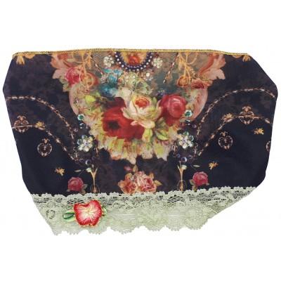 Michal Negrin Black Roses Print Satin Lace Headband