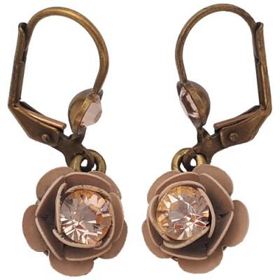 Michal Negrin Nude Tone Rose Earrings