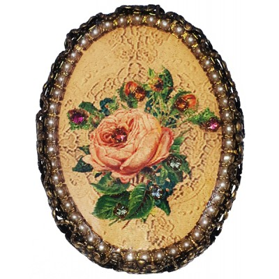 Michal Negrin Victorian Rose Cameo Brooch