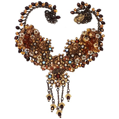 Michal Negrin Gold Bronze Embellished Lace Necklace