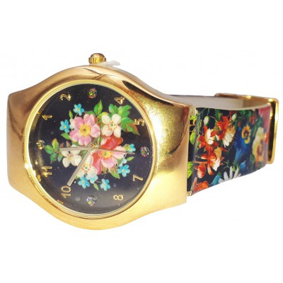 Michal Negrin Multicolor Flowers Wrist Watch