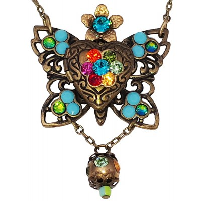 Michal Negrin Multicolor Butterfly Locket Necklace