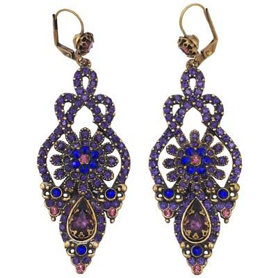 Michal Negrin Purple Crystals Deco Earrings