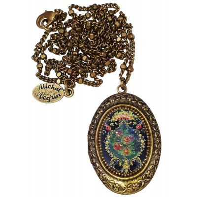 Michal Negrin Roses Cameo Oval Locket Necklace