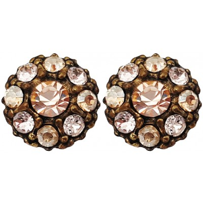 Michal Negrin Gold Tone Crystals Round Stud Earrings