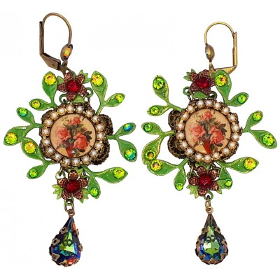 Michal Negrin Rose Cameo Leaves Earrings