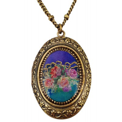 Michal Negrin Victorian Roses Cameo Oval Locket Necklace