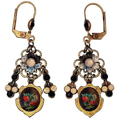 Michal Negrin Black Grey Rose Cameo Earrings