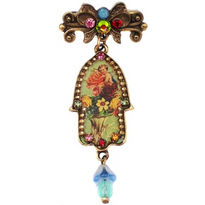 Michal Negrin Multicolor Hamsa Brooch