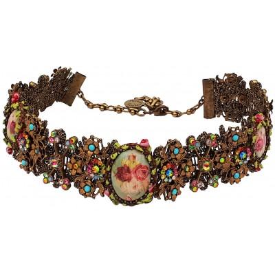 Michal Negrin Multicolor Cameos Lace Choker Necklace