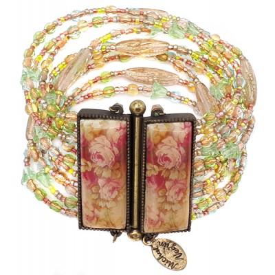 Michal Negrin Vintage Beaded Roses Bracelet