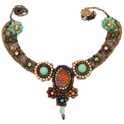 Michal Negrin Rose Cameo Lace Beaded Necklace