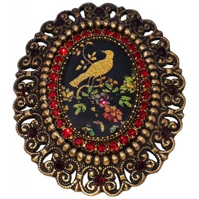 Michal Negrin Bird Cameo Red Crystals Brooch