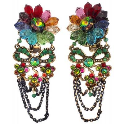 Michal Negrin Multicolor Crystal Flower Clip Earrings