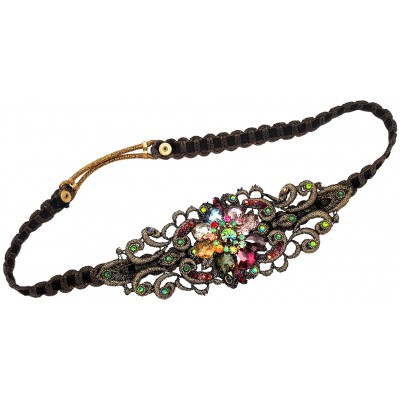 Michal Negrin Multicolor Crystal Flower Headband