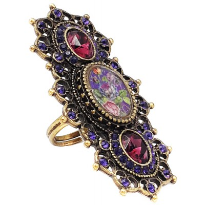 Michal Negrin Purple Crystal Roses Cameo Elongated Ring