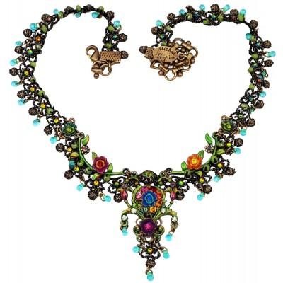 Michal Negrin Multicolor Floral Lace Necklace