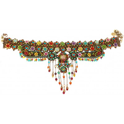 Michal Negrin Multicolor Embellished Lace Choker Necklace