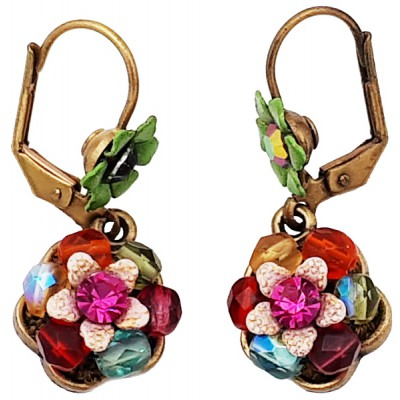 Michal Negrin Multicolor Beaded Flower Earrings