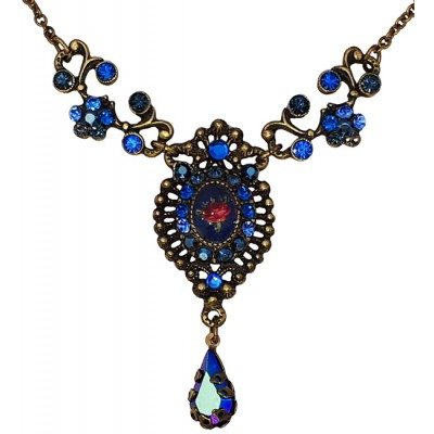 Michal Negrin Blue Crystals Cameo Necklace