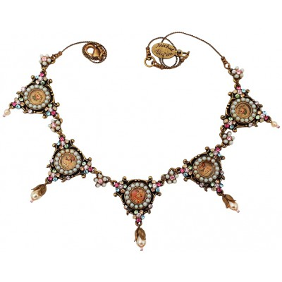 Michal Negrin Pastel Pearl Cherubs Cameos Necklace