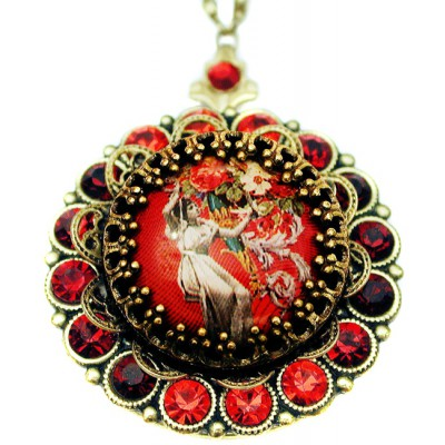 Michal Negrin Victorian Lady Red Crystals Locket Necklace