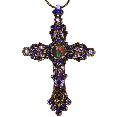 Michal Negrin Purple Cross Necklace
