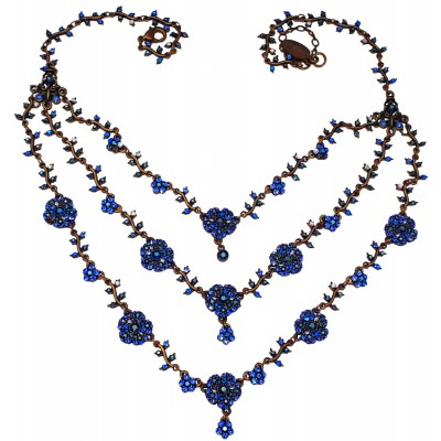 Michal Negrin Blue Daisy Chains Necklace