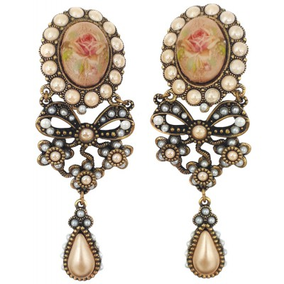 Michal Negrin Pearl Rose Cameo Clip Earrings