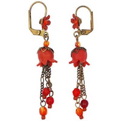 Michal Negrin Red Orange Lily Bells Earrings
