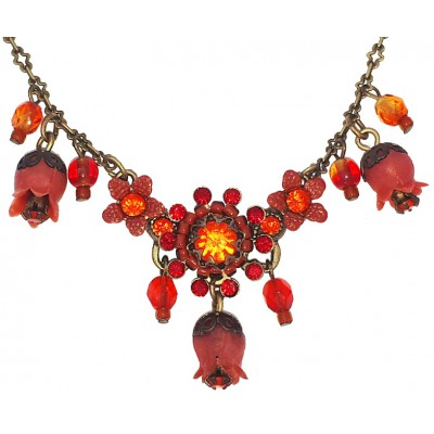 Michal Negrin Red Orange Bells Necklace