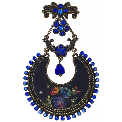 Michal Negrin Blue Roses Crescent Brooch