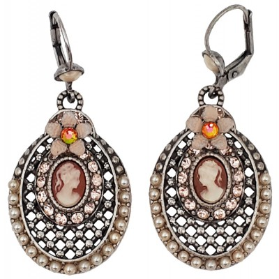 Michal Negrin Pearl Crystal Victorian Cameo Oval Earrings