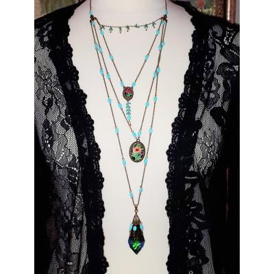 Michal Negrin Multiple Chains Pendants Necklace
