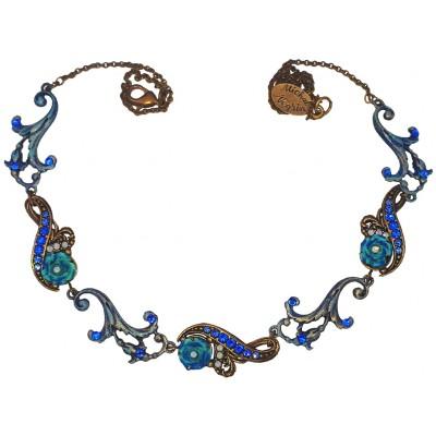 Michal Negrin Antique Blue Roses Necklace