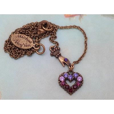 Michal Negrin Purple Mini Victorian Hand & Heart Necklace