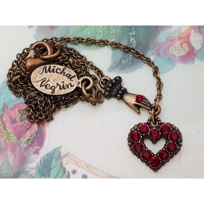 Michal Negrin Red Mini Victorian Hand & Heart Necklace