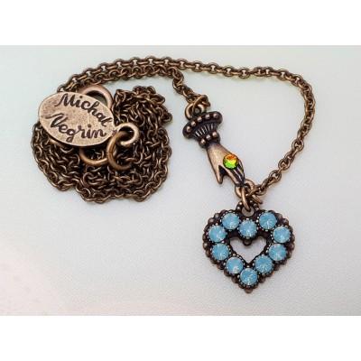 Michal Negrin Sea Green Mini Victorian Hand & Heart Necklace